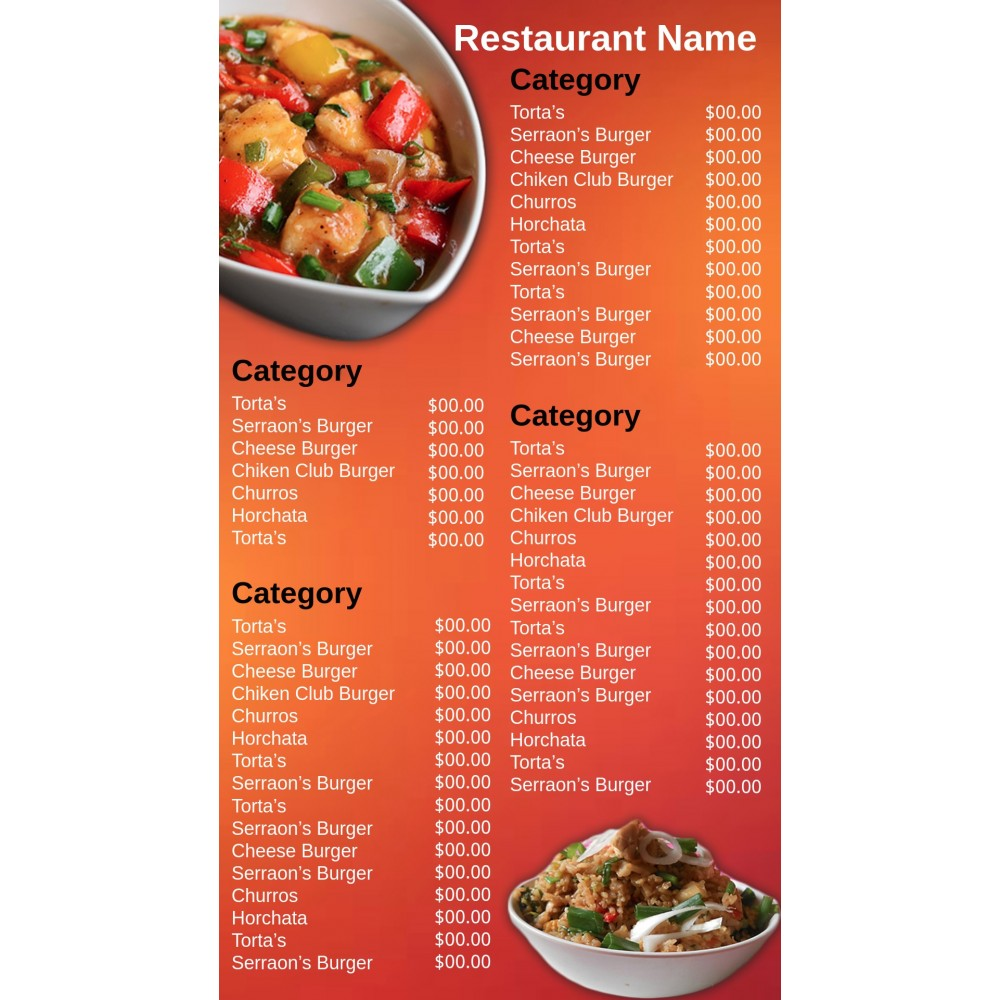 Digital Menu Vertical
